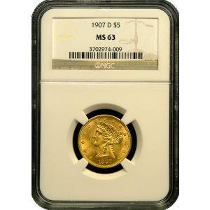 $5 Liberty MS 63 .2419oz