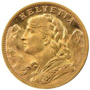 Gold Swiss 20 Frank .1867oz