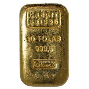 Credit Suisse 10 Tolas Gold Bar (3.75 oz)